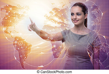 Businesswoman in air transportation concept