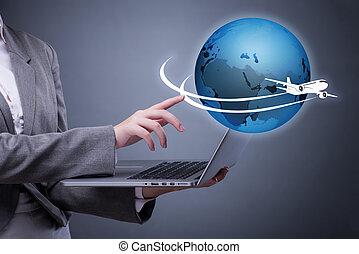 Businesswoman in air travel concept