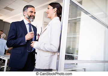 Businesswoman in an interview with a senior businessman