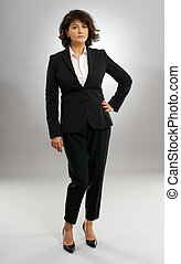 Full length of a businesswoman in suit with hands on hips