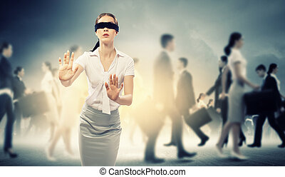 Businesswoman in blindfold among group of people - Image of ...