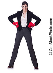 Businesswoman in boxing concept on white