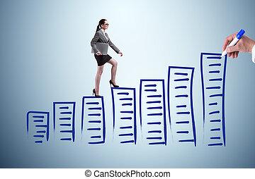 Businesswoman in career progress concept