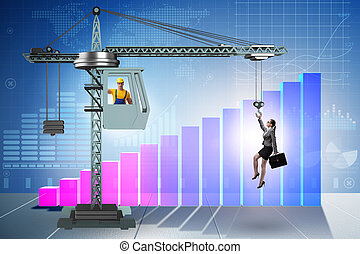 Businesswoman in career promotion concept