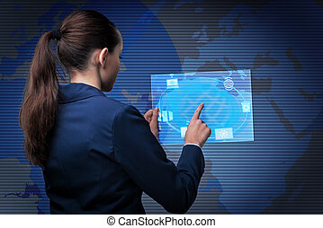Businesswoman in cloud computing concept