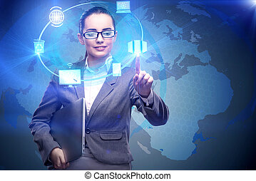 Businesswoman in data computing concept