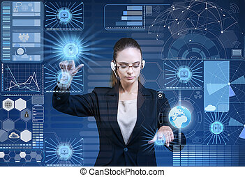 Businesswoman in data mining concept