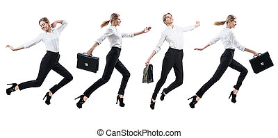 Businesswoman in formal wear jumping . - Collage of happy...