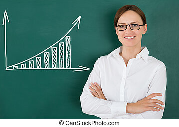 Businesswoman In Front Of Graph Drawn On Chalkboard