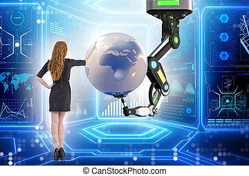 Businesswoman in futuristic global business concept
