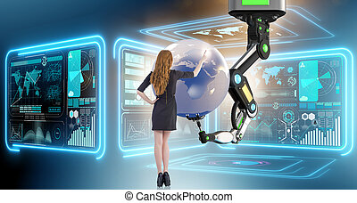 Businesswoman in futuristic global business concept