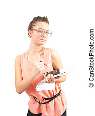 businesswoman in glasses with documents