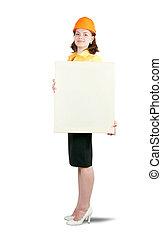 businesswoman in hardhat holding banner,