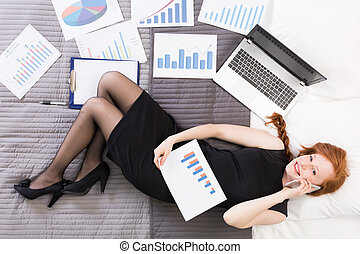 Businesswoman in her little home office