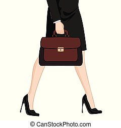 Businesswoman in high heels with briefcase