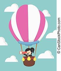 businesswoman in hot air balloon, VECTOR, EPS10