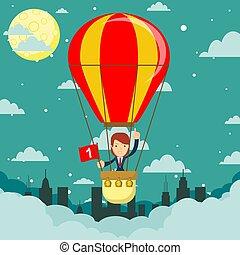 Businesswoman in hot air balloon. vector illustration.