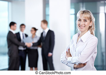businesswoman, in, kantoor