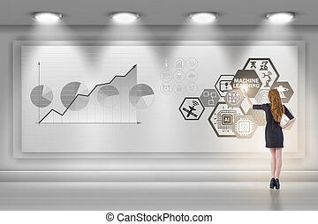 Businesswoman in machine learning concept