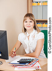 businesswoman  in office room