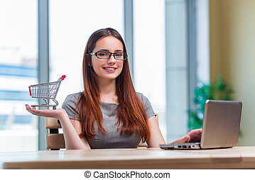Businesswoman in online shopping concept
