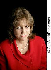 Businesswoman in Red - Uncertain Future