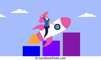 businesswoman in rocket with statistics bars animated ,4k ...