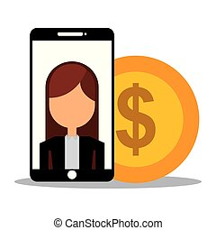 businesswoman in smartphone with coin dollar