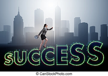 Businesswoman in success business concept