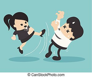 businesswoman in suit kicking businessman