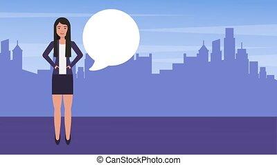 businesswoman in suit speech bubble city background...