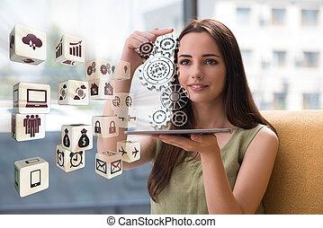 Businesswoman in teamwork business concept