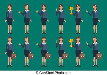 Businesswoman in Various Poses Character Set