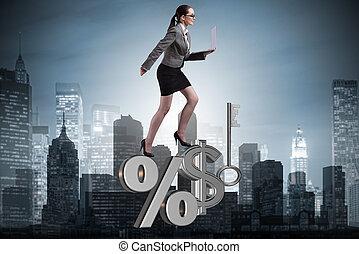 businesswoman, ind, høj, interesse kurs, begreb