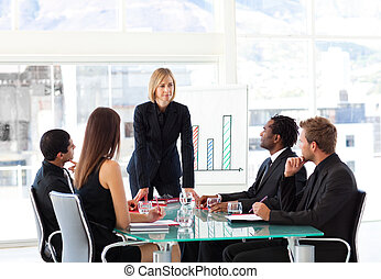 Businesswoman interacting to her team