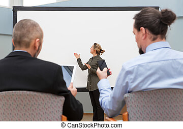 businesswoman is doing a presentation