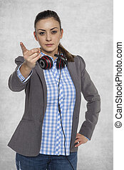 businesswoman is pointing on you