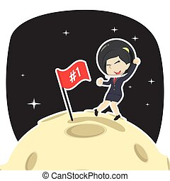 Businesswoman is putting flag on moon