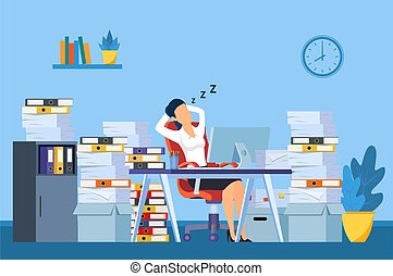 Businesswoman is sleeping at his workplace