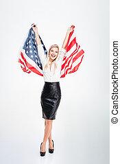 businesswoman, jonge, vlag, aantrekkelijk, vasthouden, groot, amerika, vrolijke