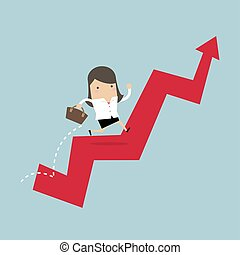 Businesswoman jump over growing chart.