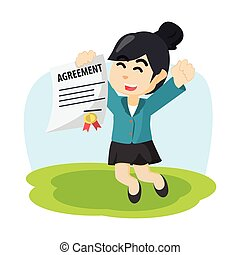 businesswoman jumping with paper