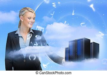 businesswoman, kigge hos, data, servers