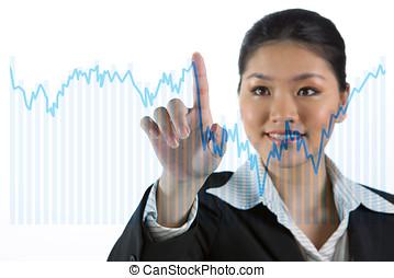 businesswoman, kijken naar, een, financiën, tabel