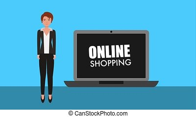 businesswoman laptop online shopping concept