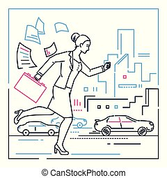 Businesswoman late for a meeting - line design style illustration