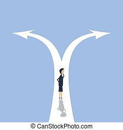 Businesswoman leader to decide on the two-way road, vector illustration. Royalty free stock images.