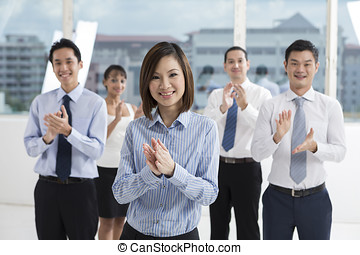 Businesswoman leading a business team
