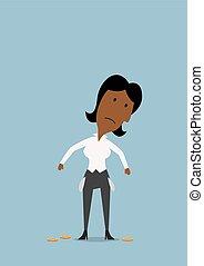 businesswoman, lege zakken, verdrietige