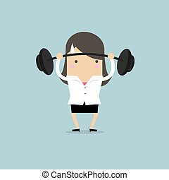 Businesswoman lifting a heavy weight.